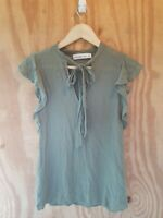 Abercrombie &  Fitch Women's Blouse Top Short Sleeve Tie Neck Olive Color.Size S