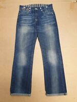 CC579 MENS LEVI'S FADED BLUE TURN UP STRAIGHT LEG DENIM JEANS W34 L31