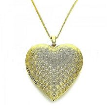 9ct Gold Filled Extra Large Filigree Heart Locket Pendant  Chain Necklace  564