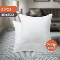 2x European Cushion Pillow Inserts Polyester 800g Filling White 65x65cm AU STOCK