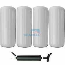 4pcs 10*28 Inch Inflatable Boat Fender White Vinyl Marine Docking Pumper