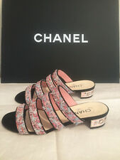 (1) CHANEL 18s CC Multi-color Tweed Metal Heel Mules Slides Shoes - Size 39 US 9