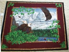 Eagle Overlook Wall Hanging Quilt top Panel Fabric Cotton Wildlife