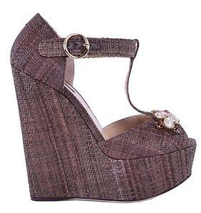 Dolce & Gabbana Crystal Wedges Platform Sandals Bianca Shoes Braun 05000