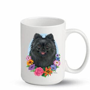 Pomeranian Black Ceramic 15oz Coffee Mug