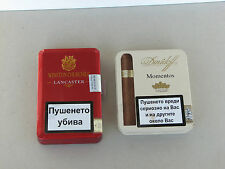 2pc Davidoff Winston Churchill cigars tin box empty used rare Momentos Lancaster