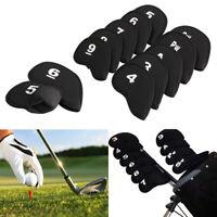 10pcs Wedge Neoprene Golf Head Cover Club Iron Putter Head Protector Set Black