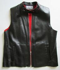 ROOTS Canada Black Leather Moto Vest Red Fleece Lining Sz M