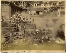 Burning Ghats at Benares, India & Original ca 1890's Photo ( Albumen Print)