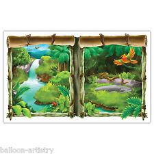 Jungle Wild Fun Animals Party Scene Setter Waterfall Window View Prop Decoration