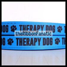 "3 yds 5/8"" Blue Therapy Dog Paw Print Collar Grosgrain Ribbon"