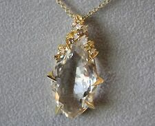 Alexis Bittar  18K Gold Clear Quartz, Sapphire, and Diamond Necklace Rt $1795.