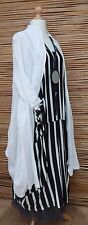 LAGENLOOK BEAUTIFUL 2 PCS OUTFIT STRIPED DRESS+JACKET*BLACK/WHITE*Size L-XL
