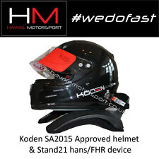 Koden SA2015 Approved Black Motorsport Helmet & Stand 21 HANS Device