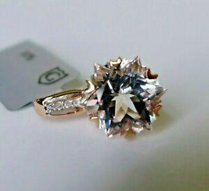 5.51Ct Wobito Snowflake White Topaz & Diamond 9K Rose Gold Pendant, Cert