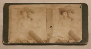 Antique Risque Stereoview, Topless Ladies in Lingerie Hugging