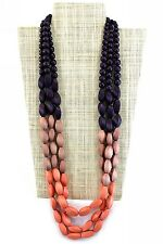 Womens Handmade Wooden Statement Necklace Purple/Coral Pink Large/Chunky Bead