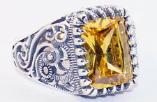 925 Sterling Silver Men's Ring with Absolutely Handmade Real Lemon Topaz