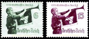 EBS Germany 1935 - Hitler Youth - Hitlerjugend - Michel 584-585 MH*