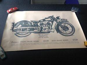 motorcycle poster, , brough, model g , vintage bike.