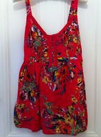 Marks & Spencers Pure Cotton Pink Floral Strappy Top With Ties Size 14 New