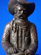 "Vtg 8"" Largo Western Cowboy w/ Saddle Bronze Finish Statue Sculpture Fine China"