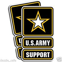 "US Army SUPPORT Stickers Military Die Cut Decals 2 Pack 3""x5"" adhesive vinyl"