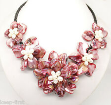 New Handmade 18'' Natural White Rice Freshwater Pearl Red Shell Flower Necklace