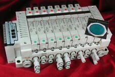 SMC EX120-SMJ1 SV Serial Unit assy - Manifold & 8 Pneumatic Solenoid Valves
