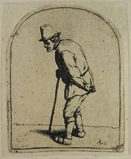 ADRIAEN VAN OSTADE Orig. Gravure Bauer avec plats dos 1675 etching i25