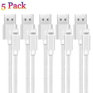 5 PACK 10 FT Heavy Duty Braided USB Charger Cable Cord For iPhone 11 XS X 8 7 6