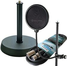 K&M 23956 Popkiller Popschutz + K&M 232 Tischstativ + Keepdrum Mikrofonkabel