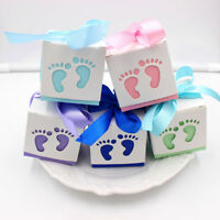 10pcs Laser Cut Baby Feet Gift Candy Bomboniere Boxes Wedding Favor Baby Shower