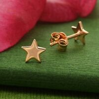 18K Rose Gold Vermeil Tiny Star Stud Studs Post Earrings - Gift Mom Girl Woman