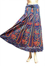 Ethnic Floral Rapron Blue Print Cotton Long Skirt Wrap Around Skirt Indian New