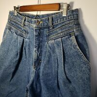 Vintage Lee Mom Jeans High Waisted Paper Bag Baggy 31 Waist Medium Wash 80s