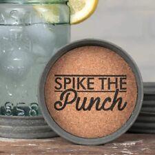 "New listing Spike the Punch Mason Jar Lid Coaster Set of 4 Cork Inside 3.75"" Diameter"
