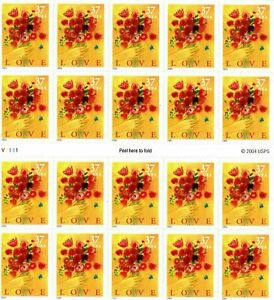 Three Booklets x 20 = 60 Of LOVE BOUQUE 37¢ US PS Postage Stamps. Scott # 3898