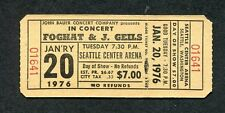 1976 Foghat J Geils Unused Full Concert Ticket Seattle Fool For The City