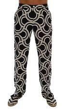 Dolce & Gabbana Black White Pattern 100 Linen Pants