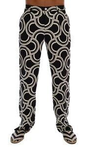 NEW $860 DOLCE & GABBANA Pants Black White Pattern 100% Linen Formal  IT46 / W32
