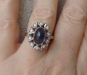 $ 6,000 Soviet Union hallmarks Sapphire G/VS Diamonds 14k Rose Gold Ring.