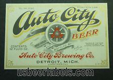 1930's U Permit beer label - Auto City Beer - Detroit, Mi