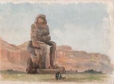 COLOSSI OF MEMNON THEBES EGYPT Antique Watercolour Painting c1900 ORIENTALIST
