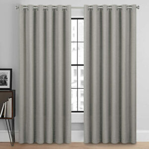Brookstone Curtains, 100% Polyester, Total Blackout Eyelet in Dark Grey, 228x228