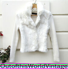 White RABBIT FUR SWEATER knit RIBBED JACKET collar KAISELY ANTHROPOLOGIE Top S
