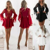 Women Lady Long Sleeve Cocktail Party Mini Maxi Dress Lace Sexy Summer Sundress