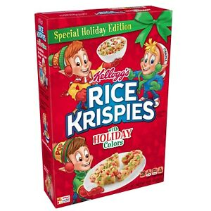 Kellogg's Rice Krispies, Breakfast Cereal, Original with Holiday Colors, 10.3 Oz