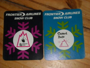 Vintage Frontier Airlines snow club Stickers TWO crested butte & jackson hole
