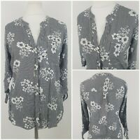 Peacocks Womens Striped Floral Black and White Top Blouse Shirt Size 12